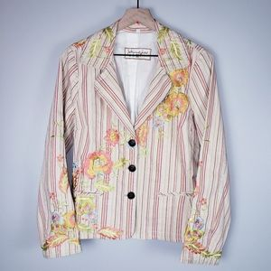 Johnny Was Striped Embroidered Blazer Jacket